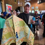 Beautiful hand made blue ribbon winning quilt donated by Shirley Alexander.